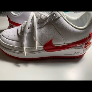 Air Force 1s white and red Jester edition